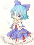 1girl adapted_costume blue_dress blue_eyes blue_hair bow cirno dress hair_bow hands_together ice ice_wings layered_dress looking_at_viewer puffy_sleeves short_sleeves simple_background solo tisha_(kimagurenukosan) touhou translated white_background white_dress wings wrist_cuffs