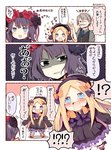 !? +_+ 1boy 2girls 3koma abigail_williams_(fate/grand_order) arms_up bangs black_bow black_dress black_eyes black_footwear black_headwear black_vest blonde_hair bloomers blue_eyes blue_neckwear bow chibi collared_shirt comic commentary_request crying crying_with_eyes_open dress eyebrows_visible_through_hair facial_hair fate/grand_order fate_(series) forehead grey_hair grey_shirt hair_bow hair_ornament hat james_moriarty_(fate/grand_order) katsushika_hokusai_(fate/grand_order) long_hair long_sleeves matsushita_yuu multiple_girls mustache necktie one_eye_closed open_mouth orange_bow parted_bangs polka_dot polka_dot_bow purple_hair round_teeth shaded_face shirt shoes short_sleeves sleeves_past_fingers sleeves_past_wrists sparkle spoken_interrobang sweat tears teeth translated underwear upper_teeth v-shaped_eyebrows very_long_hair vest wavy_mouth white_bloomers