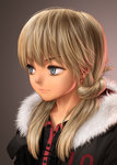 1girl blonde_hair blue_eyes coat frown fur_collar highres long_hair original revision rustle solo twintails upper_body