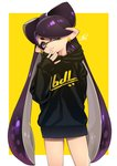 +_+ 1girl aori_(splatoon) arm_behind_back artist_name black_dress black_hair brown_eyes closed_mouth clothes_writing cowboy_shot domino_mask dress earrings head_tilt highres hood hoodie jewelry long_hair looking_at_viewer mask mole mole_under_eye outside_border pointy_ears print_dress puchiman short_dress signature sleeves_past_wrists smile solo splatoon_(series) splatoon_1 standing star star_earrings sweater sweater_dress tentacle_hair very_long_hair yellow_background