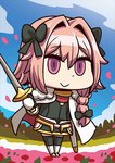 1boy :> april_fools astolfo_(fate) black_bow bow braid chibi fate/apocrypha fate/grand_order fate_(series) hair_bow holding holding_sword holding_weapon long_hair looking_at_viewer male_focus official_art otoko_no_ko petals pink_eyes pink_hair riyo_(lyomsnpmp) solo star sword weapon