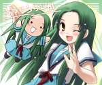 2girls churuya eretto green_hair kita_high_school_uniform long_hair multiple_girls one_eye_closed school_uniform serafuku suzumiya_haruhi_no_yuuutsu tsuruya very_long_hair yellow_eyes
