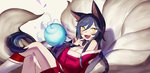 1girl ahri animal_ears bare_shoulders black_hair blush breasts cleavage crossed_legs detached_sleeves fang finger_to_mouth fox_ears fox_tail gwayo korean_clothes large_breasts league_of_legends long_hair looking_at_viewer multiple_tails open_mouth solo sphere tail whisker_markings yellow_eyes