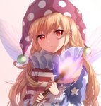 1girl american_flag_legwear blonde_hair closed_mouth clownpiece commentary_request fairy_wings fire fur_trim hair_between_eyes hat highres holding jester_cap light_smile long_hair long_sleeves looking_at_viewer mozuno_(mozya_7) neck_ruff pink_background red_eyes simple_background solo star star_print striped torch touhou wings