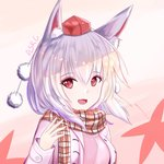 1girl :d alternate_costume animal_ears artist_name asrg autumn autumn_leaves contemporary eyeshadow fang hat inubashiri_momiji leaf long_sleeves looking_at_viewer makeup maple_leaf open_mouth plaid plaid_scarf pom_pom_(clothes) red_eyes scarf short_hair silver_hair smile solo tokin_hat touhou upper_body wolf_ears