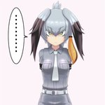... 1girl arms_behind_back bangs belt breast_pocket breasts commentary_request eyebrows_visible_through_hair green_eyes grey_hair grey_shirt hair_between_eyes head_wings highres kemono_friends looking_at_viewer low_ponytail multicolored_hair necktie pink_background pocket serious shirt shoebill_(kemono_friends) short_sleeves side_ponytail simple_background solo spoken_ellipsis staring two-tone_hair v-shaped_eyebrows white_neckwear winbee_(selkie)