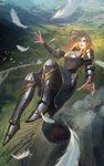 1girl armor bird blonde_hair blue_eyes blurry_foreground breastplate commentary commission cover_image crater day english_commentary falling fantasy feathers greaves highres hip_armor long_hair mountain nguyen_uy_vu original outdoors river shoulder_armor skirt solo valley volcano