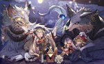 alcohol animal_ears bottle braid bunny claws closed_eyes commentary_request cup dango detached_sleeves food full_moon granblue_fantasy hakutaku_(granblue_fantasy) hat hood japanese_clothes mask moon moonlight official_art pholia red_eyes renie sakazuki sake sake_bottle silver_hair tail thighhighs vee_(granblue_fantasy) wagashi wolf wolf_ears wolf_tail wulf yellow_eyes