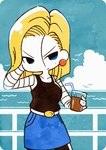 1girl android_18 bird blonde_hair blue_eyes blue_skirt chibi cloud cowboy_shot dragon_ball dragon_ball_z drinking_glass drinking_straw earrings horizon jewelry looking_at_viewer outdoors pantyhose sepia_(sepia_la_mode) skirt sky solo source_request water
