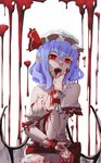 1girl arm_across_waist bangs bare_shoulders bat_wings blood blood_on_face bloody_clothes bloody_hands blue_hair bow breasts breasts_outside center_frills collarbone commentary fangs frilled_shirt frills hat hat_ribbon head_tilt highres looking_at_viewer low_wings mob_cap nipples off_shoulder open_clothes open_mouth open_shirt pointy_ears red_bow red_eyes red_ribbon remilia_scarlet ribbon rmilanis shaded_face shirt short_hair small_breasts solo touhou upper_body v-shaped_eyebrows vampire white_background white_headwear white_shirt wings