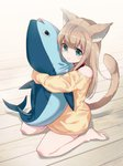 1girl 40hara absurdres animal_ear_fluff animal_ears aqua_eyes bangs bare_legs bare_shoulders barefoot blush cat_ears cat_girl cat_tail closed_mouth collar commentary_request eyebrows_visible_through_hair feet hair_between_eyes highres holding holding_stuffed_animal kinako_(40hara) light_brown_hair long_sleeves looking_at_viewer on_floor original red_collar simple_background sitting smile soles solo stuffed_animal stuffed_fish stuffed_toy tail tail_raised toes wariza wooden_floor