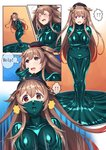 1girl absurdres blush comic covered_mouth gradient_hair hair_ribbon hat heterochromia hiememiko highres kantai_collection latex_bodysuit light_brown_hair living_clothes long_hair multicolored_hair murasame_(kantai_collection) open_mouth red_eyes remodel_(kantai_collection) ribbon school_uniform serafuku slim smile solo tears twintails two_side_up