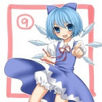 (9) 1girl bloomers blue_dress blue_eyes blue_hair blush bow cirno dress dress_lift hair_bow hand_on_hip ice pointing short_hair smile solo touhou underwear wind wind_lift wings yayoi_(egoistic_realism)