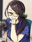 1girl blue_shirt blush bow breasts brown_hair eyebrows_visible_through_hair glasses grin hair_bow headphones highres idolmaster idolmaster_cinderella_girls large_breasts long_hair microphone morino_shoutarou parted_lips ponytail shirt sitting smile solo teeth yamato_aki