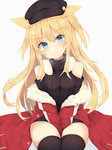 1girl animal_ears bangs bare_shoulders between_legs black_hat black_legwear black_sweater blonde_hair blue_eyes blush breasts cat_ears closed_mouth commentary_request eyebrows_visible_through_hair fur-trimmed_jacket fur_trim hand_between_legs hat highres jacket long_hair looking_at_viewer medium_breasts nibiiro_shizuka off_shoulder open_clothes open_jacket original red_jacket ribbed_legwear ribbed_sweater shoulder_cutout simple_background sitting smile solo sweater thighhighs turtleneck turtleneck_sweater white_background