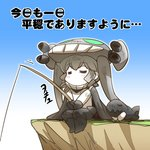 1girl =_= bodysuit boots cape chibi closed_eyes comic commentary curly_hair eyebrows_visible_through_hair fishing_rod gloves grey_hair hat hisahiko holding holding_fishing_rod i-class_destroyer kantai_collection shinkaisei-kan sidelocks sitting sleeping tentacles thighhighs translated wo-class_aircraft_carrier