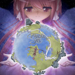 1girl album_cover cover earth fragile_(yes_album) gloves kaname_madoka long_hair magical_girl mahou_shoujo_madoka_magica parody pink_eyes pink_hair shingyouji_tatsuya smile solo space star_(sky) tree ultimate_madoka yes_(band)