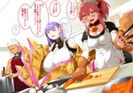 1boy 2girls :3 >:3 animal_ears apron archer bangs bell blunt_bangs breasts carrot caster_(fate/extra) cleavage closed_eyes collar commentary cooking cutting_board eyebrows_visible_through_hair fangs fate/grand_order fate_(series) fox_ears fox_tail frilled_apron frills gigantic_breasts hair_ribbon hair_slicked_back highres indoors kitchen kitchen_knife knife long_hair maid_headdress menea multiple_girls muscle onion open_mouth passion_lip paws pink_hair pot purple_hair ribbon saliva short_hair sidelocks smile tail tamamo_cat_(fate/grand_order) translation_request white_hair white_pupils yellow_eyes