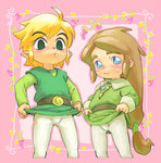 2boys ahoge androgynous belt black_eyes blonde_hair blue_eyes brown_hair bulge color_connection crossover eyebrows link long_hair low-tied_long_hair male_focus multiple_boys pantyhose pietro_pakapuka ponytail popolocrois shirt_lift short_hair sweatdrop the_legend_of_zelda toon_link tunic usikani white_legwear