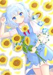 1girl arm_up bangs blue_dress blue_eyes blue_hair blurry blush bow cirno commentary_request depth_of_field dress drop_shadow eyebrows_visible_through_hair feet_out_of_frame floral_background flower hair_bow holding holding_flower looking_at_viewer lying morning_glory nibosisuzu on_back petals pinafore_dress plant puffy_short_sleeves puffy_sleeves shirt short_hair short_sleeves smile solo sunflower touhou vines white_background white_shirt wings