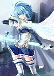 1girl belt blue_eyes blue_hair cape dual_wielding gloves magical_girl mahou_shoujo_madoka_magica miki_sayaka short_hair solo soul_gem sword thighhighs weapon zettai_ryouiki