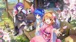 5girls bird black_kimono blue_hair blush brown_eyes brown_hair cherry_blossoms closed_mouth cup day dog flower food fruit hair_flower hair_ornament highres japanese_clothes kimono long_hair looking_at_viewer multiple_girls one_eye_closed open_mouth original outdoors ponytail purple_eyes purple_hair red_eyes short_hair short_ponytail sitting smile table teacup teapot tracyton tray watermelon
