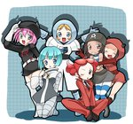 6+girls bandana belt blonde_hair blue_eyes blue_hair boots brown_eyes brown_hair dark_skin gloves grey_eyes hat highres hoodie kotomi_(happy_colors) multiple_girls pink_hair poke_ball pokemon pokemon_(game) pokemon_bw pokemon_dppt pokemon_hgss pokemon_oras pokemon_xy red_hair skirt smile sunglasses sunglasses_on_head team_aqua team_aqua_grunt team_aqua_grunt_(remake) team_flare team_flare_grunt team_galactic team_galactic_grunt team_magma team_magma_grunt team_magma_grunt_(remake) team_plasma team_plasma_grunt team_rocket team_rocket_grunt thighhighs