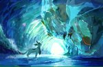 cave commentary_request day from_side frozen gen_4_pokemon gen_6_pokemon glaceon highres ice kamemaru looking_at_another looking_down looking_up no_humans pokemon pokemon_(creature) profile sharp_teeth standing teeth tyrantrum