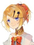 1girl aku_no_musume_(vocaloid) bare_shoulders black_flower black_rose blonde_hair blue_eyes bow choker collarbone dress_bow earrings evillious_nendaiki eyebrows_visible_through_hair face flower hair_bow hair_ornament hairclip jewelry kagamine_rin looking_at_viewer mayo_(mayone-u) portrait riliane_lucifen_d'autriche rose smile solo updo vocaloid yellow_flower yellow_rose