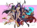 3girls ;q animal_ears asaya_minoru ass bandaged_arm bandages bangle bangs bare_shoulders black_footwear black_legwear boots bracelet breasts bridal_gauntlets brown_footwear check_commentary cleavage closed_mouth commentary_request crescent dark_skin earrings egyptian egyptian_clothes eyebrows_visible_through_hair facial_mark fate/grand_order fate_(series) forehead_jewel green_eyes green_hair hair_between_eyes hairband hat head_chain head_tilt high_heel_boots high_heels holding holding_staff hoop_earrings jackal_ears jewelry lantern large_breasts long_hair looking_at_viewer looking_to_the_side low-tied_long_hair mini_hat multiple_girls navel nitocris_(fate/grand_order) oil_lamp one_eye_closed open_mouth pauldrons pink_background profile purple_eyes purple_hair queen_of_sheba_(fate/grand_order) revealing_clothes sandals scheherazade_(fate/grand_order) see-through shoe_soles shoes sidelocks smile staff thigh_boots thighhighs tilted_headwear tongue tongue_out twitter_username two-tone_background very_long_hair white_background white_hat