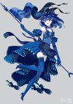 1girl :d ahoge apron bangs banner bare_shoulders black_apron black_bow blue_dress blue_eyes blue_gloves blue_hair blue_legwear blue_theme blush bow breasts collarbone commentary_request detached_sleeves dress earrings elbow_gloves fish_earrings fish_hair_ornament flag flat_chest frilled_apron frills full_body gem gen_7_pokemon gloves hair_ornament headdress high_heels highres holding holding_flag huge_ahoge jewelry leg_up looking_at_viewer merlusa number open_mouth personification pokemon short_hair silver_background simple_background smile solo thighhighs v-shaped_eyebrows waist_apron white_bow wishiwashi zettai_ryouiki