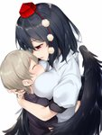 1boy 1girl ^_^ age_difference asutora black_hair black_shirt black_wings blush breasts closed_eyes commentary eyebrows_visible_through_hair feathered_wings from_side grey_hair hat hetero highres hug large_breasts looking_at_another looking_down looking_up nose_blush parted_lips pom_pom_(clothes) profile puffy_short_sleeves puffy_sleeves red_eyes shameimaru_aya shirt short_hair short_sleeves simple_background sweat tassel tokin_hat touhou upper_body white_background white_shirt wing_collar wings