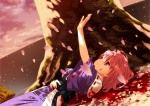 1girl blood cherry_blossoms death dying injury japanese_clothes lying no_hat no_headwear on_back outstretched_arm outstretched_hand petals pink_hair reaching red_eyes saigyouji_yuyuko saigyouji_yuyuko_(living) short_hair smile solo suicide sunset tears touhou tree yasuyuki