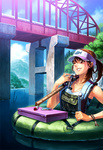 1girl blush bracelet breasts bridge brown_hair cloud day fishing_lure fishing_rod grin holding holding_fishing_rod jewelry one_eye_closed original oropi overalls ponytail sky small_breasts smile solo tackle_box visor_cap wading water