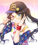 1girl ;d badge bangs baseball_cap bead_necklace beads black_headwear blue_eyes blue_sleeves blush bra_strap bracelet brown_hair button_badge chocho_(homelessfox) clothes_writing collarbone eyebrows_visible_through_hair glasses gradient gradient_background grin hair_beads hair_ornament hand_on_own_cheek hands_up hat idolmaster idolmaster_shiny_colors jewelry long_hair looking_at_viewer mitsumine_yuika necklace one_eye_closed open_mouth print_shirt red-framed_eyewear shirt short_sleeves smile solo sparkle star sweatband swept_bangs teeth upper_body v white_shirt wristband yellow-tinted_eyewear
