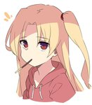 1girl azur_lane bangs blonde_hair cleveland_(azur_lane) commentary_request drawstring eating eyebrows_visible_through_hair eyes_visible_through_hair food highres hood hood_down hoodie kandori long_hair looking_at_viewer notice_lines one_side_up parted_bangs pocky red_eyes red_hoodie simple_background solo upper_body white_background