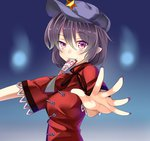 1girl ashu black_hair hat miyako_yoshika mouth_hold ofuda open_hand purple_eyes purple_nails short_hair solo touhou