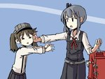 2girls >_< adrian_ferrer brown_hair clothes_hanger commentary dress english_commentary grey_hair hair_ribbon height_difference japanese_clothes kantai_collection kariginu kasumi_(kantai_collection) multiple_girls open_mouth outstretched_arm pinafore_dress pleated_skirt reaching ribbon ryuujou_(kantai_collection) side_ponytail sidelocks skirt suspenders twintails visor_cap