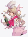 1girl apron bottle bunny_hair_ornament chef chef_hat chef_uniform cowboy_shot eyebrows_visible_through_hair fang hair_ornament hat holding holding_bottle holding_knife knife light_brown_hair long_hair looking_at_viewer natori_sana pink_apron pink_scarf red_eyes sana_channel scarf simple_background solo two_side_up white_background zumi_tiri