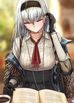 1girl bangs black_gloves black_hairband black_jacket black_skirt book camouflage_print closed_eyes closed_mouth coffee coffee_mug collared_shirt commentary cup earphones eyebrows_visible_through_hair feather-trimmed_jacket feathers girls_frontline gloves hairband head_tilt high-waist_skirt jacket long_hair long_sleeves looking_down media_player mug neck_ribbon neck_scar open_book red_ribbon revision ribbed_shirt ribbon scar shirt sidelocks sitting skirt solo table testame thunder_(girls_frontline) very_long_hair