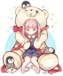 1girl bear bird blue_eyes blush bow eyebrows_visible_through_hair highres looking_at_viewer medium_hair original penguin pink_hair red_bow red_ribbon ribbon sencha_(senta_10) stuffed_animal stuffed_toy teddy_bear twintails