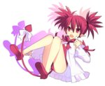 1girl :o bow cosplay demon_tail disgaea earrings etna fang flonne flonne_(cosplay) flonne_(fallen_angel) full_body heart heart_earrings jewelry leotard lololotton makai_senki_disgaea pointy_ears red_bow red_eyes red_hair red_leotard short_hair slit_pupils solo spiked_hair tail tail_bow twintails white_background white_bow