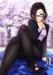 1girl alcohol beer belt blazer blush brown_eyes brown_hair business_suit cherry_blossoms commentary_request crossed_legs formal glasses grin hand_on_own_chin highres jacket kagematsuri looking_at_viewer mat mole mole_under_mouth office_lady open_blazer open_clothes open_jacket original outdoors pantyhose pencil_skirt purple_shirt shirt short_hair sitting skirt smile solo suit tree