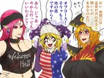 3girls american_flag_dress bare_shoulders black_hat black_robes black_shirt blonde_hair bracer chain choker clothes_writing clownpiece cross earrings elbow_gloves eyebrow_piercing facial_mark facial_tattoo fairy_wings fangs fingernails forehead_mark gloves gold_chain hand_on_hip hat hecatia_lapislazuli index_finger_raised inverted_cross jester_cap jewelry junko_(touhou) long_hair midriff multiple_girls nail_polish navel navel_piercing neck_ruff open_mouth pale_skin piercing pink_eyes pink_hair pointy_ears polka_dot polka_dot_hat polos_crown purple_eyes purple_gloves robe ryuuichi_(f_dragon) sharp_fingernails sharp_teeth shirt short_hair short_sleeves shoulder_pads smile tassel tattoo teeth touhou translation_request wings yellow_eyes