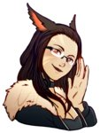 1girl adjusting_eyewear animal_ears breasts brown_eyes brown_hair cat_ears choker cleavage facial_mark final_fantasy final_fantasy_xiv glasses lips long_hair looking_at_viewer miqo'te nat_(nathaniel) profile rimless_eyewear smile solo transparent_background upper_body watermark