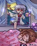2girls blanket blush bowtie brown_hair closed_eyes curtains dress kishin_sagume long_sleeves lowres lying multiple_girls on_bed on_side open_mouth orb pote_(ptkan) red_eyes shaded_face short_hair silver_hair single_wing sleeping smile text touhou usami_sumireko vest window wings
