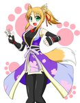 1girl :d animal_ears black_legwear blonde_hair breasts dog_days elbow_gloves fingerless_gloves fox_ears fox_tail gloves green_eyes japanese_clothes kimono large_breasts looking_at_viewer meguru_(mm-da) ninja open_mouth paw_print ponytail shuriken smile solo tail thighhighs undershirt yukikaze_panettone