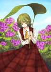 1girl ascot bad_id bad_twitter_id blue_sky day field flower flower_field green_eyes green_hair kazami_yuuka leaf leaf_umbrella long_sleeves looking_at_viewer nature plaid plaid_skirt plaid_vest shirt skirt skirt_set sky smile solo touhou urin vest water_drop white_shirt