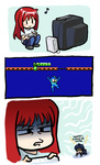 1boy 1girl 3koma :> aozaki_aoko comic controller english_text game_console game_controller jonathan_kim melty_blood orz playing_games red_hair rockman rockman_(character) rockman_(classic) television toono_shiki tsukihime video_game wii wii_remote