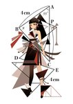 1girl appi bangs black_hair blunt_bangs expressionless full_body geometry highres looking_at_viewer math number original pantyhose red_eyes short_hair simple_background solo standing triangle white_background